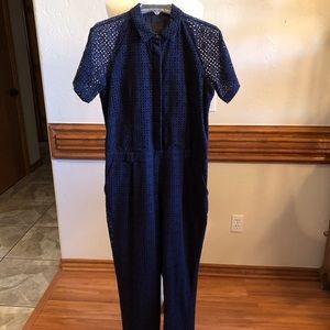 J Crew Collection Navy Eyelet Jumpsuit size 10
